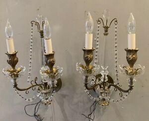 Pair Gilt Bronze Crystal French Two Light Wall Sconces Spire Tops