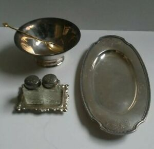 Sterling Silver Salt And Pepper Shakers Butter Dish Sugar Bowl With Spoon