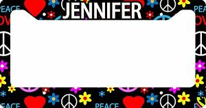 Personalized License Plate Frame Custom Car Tag Black Hippie Hipster Peace Love