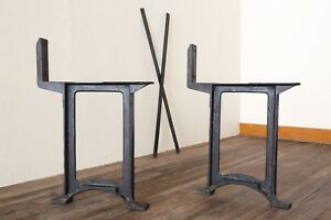 Vintage Industrial Cast Iron Legs Blacksmith Workbench Lathe Dining Table Desk