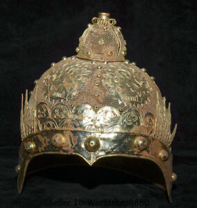 9 2 Collect Rare Old Chinese Copper Gilt Beast Face Soldier Casque Crash Helmet