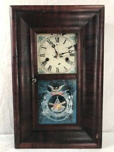 Antique 19th C Ogee Clock Civil War Theme With Pendulum And Key