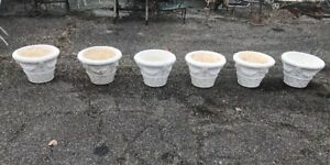 Lot Of Six Vintage Concrete Garden Patio Planters