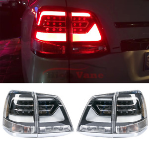 Toyota Land Cruiser Lc200 2008 2015 Rear Lamps 2pc Black Led Taillights Assembly