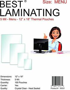 Best Laminating 5mil Menu Laminating Pouches 12 X 18 100 Pack