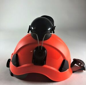 Red Tree Climbers Safety Helmet 6 Pt Ratchet Suspension Meet Ansi W Earmuffs