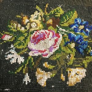 Antique Rose Petit Point Needlepoint Canvas Embroidery Fabric Tapestry Remnant