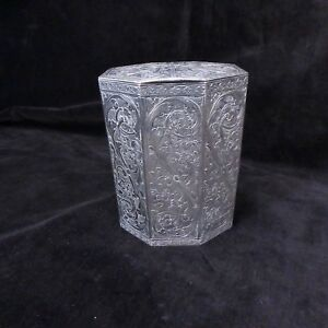 Antique German Dutch 800 Silver Heavily Decorated Tea Caddy 4 1 2 H 11 2 Ozt