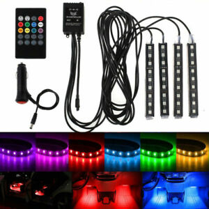 4x Rgb 12led Car Auto Interior Neon Atmosphere Strip Light Music Remote Control