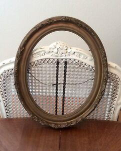Beautiful Gilded Gold Tone Gesso Roses Art Frame Oval Vtg Victorian No Glass