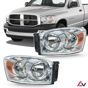 2006 2008 For Dodge Ram Clear Lens Aftermarket Replacement Headlights Headlamps