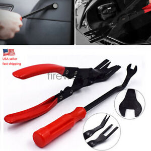 2pcs Car Door Panel Removal Tool Kit Clip Pliers Upholstery Trim Removal Pry Set