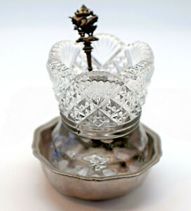 Vintage Cut Glass Sugar Bowl With Silver Plated Holder With Swan Metal Spoon