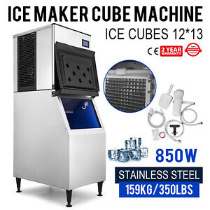 350 Lbs 24h Commercial Ice Maker Machine 235 Lbs Storage Bin Cafes Ice Cubes