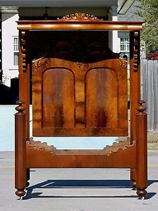Walnut And Burl Empire Victorian Quarter Tester Bed Circa 1850