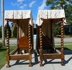 Pair Rope Turned Tall Post Canopy Beds 19th Century