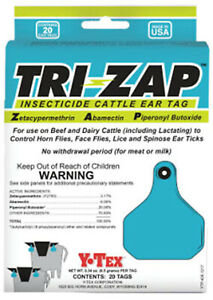 Tri zap Insecticide Fly Cattle Ear Tags 20 Count No Withdrawl