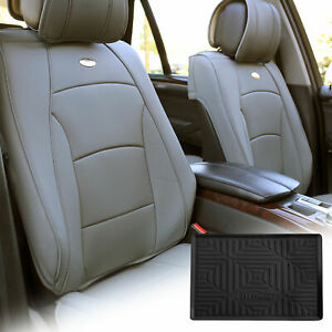 Pu Leather Seat Cushion Covers Front Bucket Gray W Dash Mat For Auto