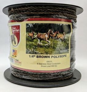 Field Guardian 1 4 Brown Polyrope 656 Ft Horse Electric Fence Wire 631835