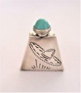 Vintage Antique Mexico Sterling Silver Turquoise Miniature Perfume Bottle