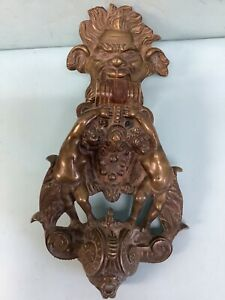 Antique Bronze Door Knocker Cherubs Lions Heads Ornate Large 12 Inch Tall
