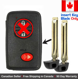 2 New Replacement Keyless Key Fob For Toyota Proximity Remote Insert Key Blade