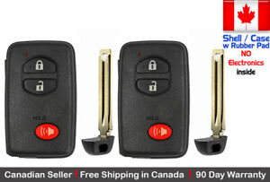 2 New Replacement Keyless Key Fob For Toyota Proximity Remote Shell Case Only