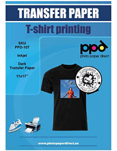 Ppd Inkjet Iron on Dark T Shirt Transfers Paper 11x17 Pack Of 10 Sheets