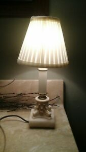 Vintage Neoclassical Marble Alabaster Greek Column Table Lamp 12 5 Tall