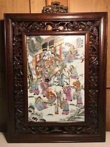 Antique Chinese Framed Wall Porcelain Plaque Tile Painting Peach Banquet