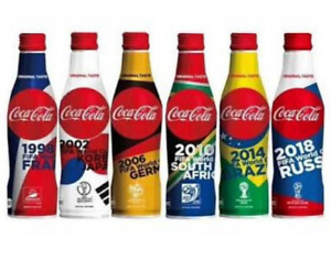 2018 World Cup Cola Limited Edition Full Set of 6 Empty Aluminium Bottles
