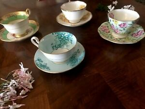 Vintage Spring Floral Tea Cups And Saucers Fine Bone China England Lot Of 4