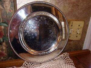 International Silver Co Round Silver Serving Tray Plate Platter 10 Inch Perfect