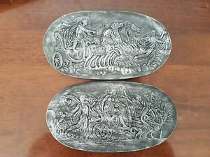 2 Miniature Classical Chariot Animal Intaglio Grand Tour Gems Pewter Plaster New