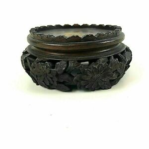Antique Chinese Carved Wooden Stand For Bowl Vase 125 Flower Carving