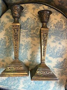 Antique Pair Of 12 Brass Rams Head Motif Candlestick Holders