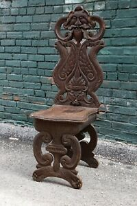 1890s Antique North Wind Face Mahogany Carved Wood Throne Chair Legs Feet Brown