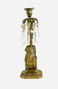 Vintage Victorian Figural Brass Statue Crystal Old Candlestick