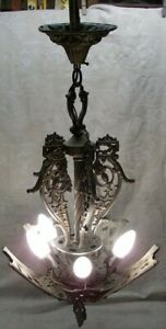 Vintage Art Deco Slip Shade 5 Light Metal Ceiling Fixture Chandelier