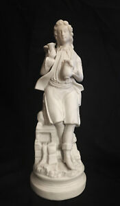 Antique Bisque Porcelain Figurine Young Man W Bird Reduced