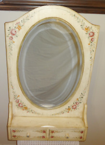 Vintage Hand Painted Flower Floral Wood Wall Shelf With Oval Mirror