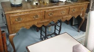 Vintage Baker Queen Anne Server Sideboard Huntboard Burl Wood Oak Traditional