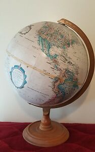 Vintage C 1985 Replogle World Classic Series Desk Globe Wood Stand