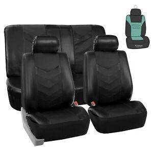 Pu Leather Car Seat Covers For Car Suv Van W Steering Cover Belt Pads Gift