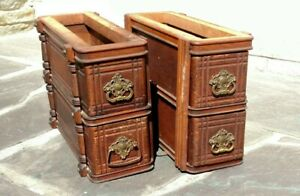 Antique Singer Treadle Sewing Machine Cabinet Drawer Set W Drawer Boxes