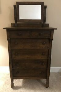 Antique 1909 Vintage Dresser With Mirror Chest Of Drawers 4 Large