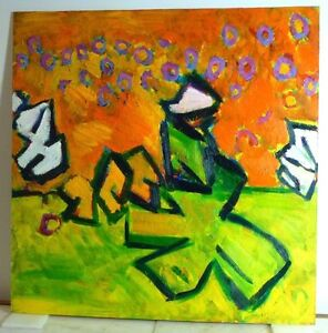 Neo Pop Art Expressionist Oil Painting Vintage Mid Century Modern Style