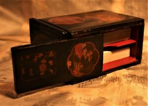 Japanese Decorated Lacquered Puzzle Card Box C 1920