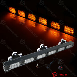 32 Inch 72 Led Amber Light Traffic Warn Strobe Flash Yellow Bar Hazard Advisor