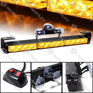 14 Inch Led Amber Light Emergency Warning Strobe Flashing Yellow Bar Security